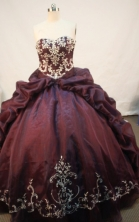 Cheap Ball gown Strapless Sweep Train Organza Purple Quinceanera Dresses Style FA-W-176