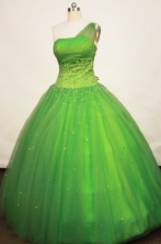 Gorgeous Ball gown One Shoulder Neck Floor-length Tulle Spring Green Quinceanera Dresses Style FA-W-172
