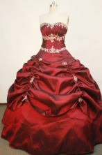 Popular Ball Gown Strapless Floor-length Taffeta Wine Red Quinceanera Dresses Style FA-W-177