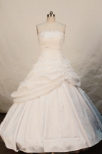Popular Ball gown Strapless Floor-length White Taffeta Quinceanera Dresses Style FA-W-197