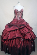 Popular ball gown straps sweetheart-neck floor-length taffeta wine red appliques with beading quinceanera dresses FA-X-099