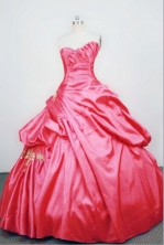 Unique Ball gown Strapless Floor-length Taffeta RedQuinceanera Dresses Style FA-W-063