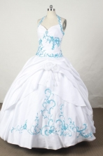 Affordable Ball Gown Halter Top Floor-length Taffeta Quinceanera dress TD2444