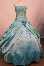 Affordable Ball Gown Strapless Floor-length Teal Taffeta Beading Quinceanera dress Style FA-L-073