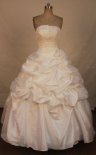 Affordable Ball Gown Strapless Floor-length White Taffeta Beading Quinceanera dress Style FA-L-308