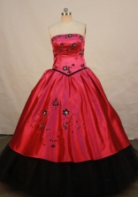 Affordable Ball Gown Strapless Floor-length Wine Red Taffeta Quinceanera dress Style L0424001