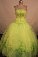 Affordable Ball Gown Strapless Floor-length Yellow Green Appliques Quinceanera dress Style FA-L-264