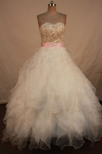 Affordable Ball Gown Sweetheart Floor-length White Organza Beading Quinceanera dress Style FA-L-281