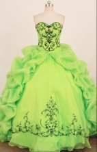 Affordable ball gown sweetheart-neck chapel organza appliques spring green quinceanera dresses FA-X-172
