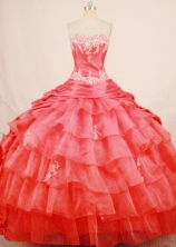Bautiful ball gown sweetheart-neck chapel taffeta coral red quinceanera dresses FA-X-144