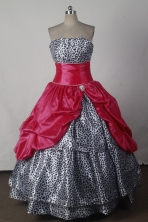 Beautiful Ball Gown Strapless Floor-length Red Quinceanera Dress Style X042601