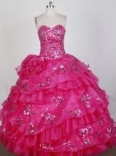Beautiful Ball Gown Strapless Floor-length RedQuinceanera Dress X0426031