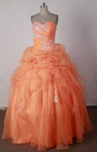 Beautiful Ball Gown Sweetheart Neck Floor-length Orange Red Quincenera Dresses TD26001