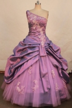 Beautiful ball gown one shoulder floor-length taffeta appliques quinceanera dresses FA-X-155