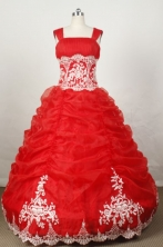 Brand New Ball Gown Strap Floor-length Red Organza Embroidery Quinceanera dress Style FA-L-046