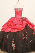 Cheap ball gown sweetheart-neck floor-length taffeta appliques quinceanera dresses FA-X-174