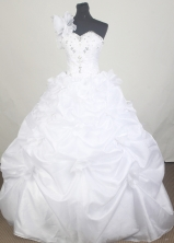 Classical Ball Gown One Shoulder Floor-length White Quinceanera Dress LZ426061