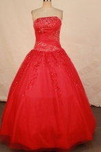Classical Ball Gown Strapless Floor-length Red Beading Quinceanera dress Style FA-L-319
