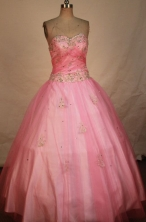 Classical Ball Gown Sweetheart Floor-length Rose Pink Satin Beading Quinceanera dress Style FA-L-305