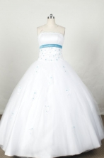 Cute Ball Gown Strapless Floor-length White Organza Appliques Quinceanera dress Style FA-L-043