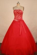 Elegant A-line Strapless Floor-length Quinceanera Dresses  Beading Style FA-Z-0340
