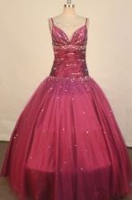Elegant Ball Gown Strap Floor-length Burgundy Taffeta Beading Quinceanera dress Style FA-L-221