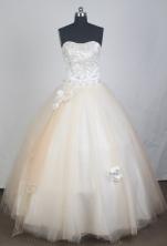 Elegant Ball Gown Strapless Floor-length Champagne Quinceanera DressLZ422101