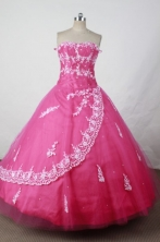 Elegant Ball Gown Strapless Floor-length Hot Pink Taffeta Appliques Quinceanera dress Style FA-L-065