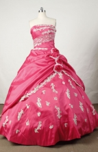 Elegant Ball Gown Strapless Floor-length Hot Pink Taffeta Beading Quinceanera dress Style FA-L-054