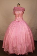 Elegant Ball Gown Strapless Floor-length Pink Satin Beading Quinceanera dress Style FA-L-310
