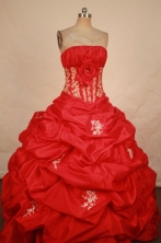 Elegant Ball Gown Strapless Floor-length Red Taffeta Appliques Quinceanera dress Style FA-L-321