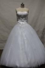 Elegant Ball Gown Strapless Floor-length White Organza Beading Quinceanera dress Style FA-L-084