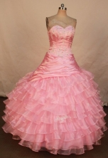 Elegant Ball Gown Sweetheart Floor-length Baby Pink Organza Beading Quinceanera dress Style FA-L-315