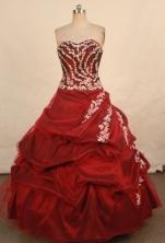 Elegant Ball Gown Sweetheart Floor-length Burgundy Taffeta Appliques Quinceanera dress Style FA-L-33