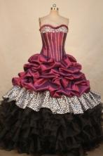 Elegant Ball Gown Sweetheart Floor-length Fuchsia Taffeta Beading Quinceanera dress Style FA-L-314
