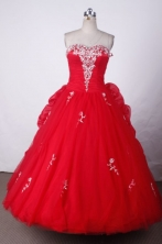 Elegant Ball Gown Sweetheart Floor-length Red Organza Appliques Quinceanera dress Style FA-L-005