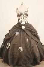 Elegant ball gown straps sweetheart-neck floor-length organza appliques black quinceanera dresses FA-X-159