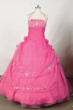 Exclusive Ball Gown Halter Top Floor-length Hot Pink Embroidery Quinceanera dress Style FA-L-051