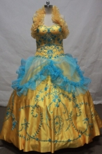 Exclusive Ball Gown Halter Top Floor-length Yellow Embroidery Quinceanera dress Style FA-L-085