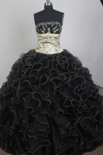 Exclusive Ball Gown Strapless Floor-length Black Quinceanera Dress LZ426034