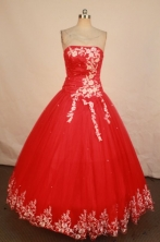 Exclusive Ball Gown Strapless Floor-length Red Appliques Quinceanera dress Style FA-L-223