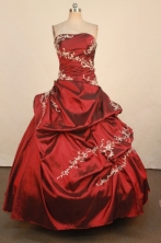 Exquisite Ball Gown Strapless Floor-Length Red Appliques Quinceanera Dresses Style FA-S-350