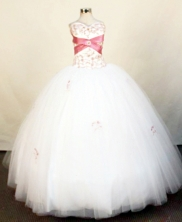 Exquisite Ball Gown Strapless Floor-Length White Beading and Appliques Quinceanera Dresses Style FA-S-393