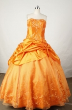 Exquisite Ball Gown Strapless Floor-length Orange Taffeta Embroidery Quinceanera dress Style FA-L-03