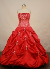 Exquisite Ball Gown Strapless Floor-length Red Taffeta Beading Quinceanera dress Style FA-L-080