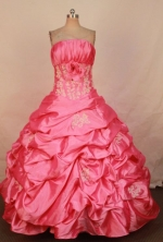 Beautiful Ball Gown Strapless Floor-length Taffeta Pink Quinceanera Dresses LJ0424002