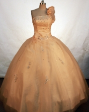 Fashionable Ball Gown One Shoulder Floor-length Gold Taffeta Beading Quinceanera Dress Style FA-L-120