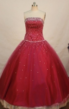 Fashionable Ball Gown Strapless Floor-length Wine Red Organza Quinceanera dress Style LJ042484