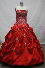 Fashionable Ball Gown Strapless Floor-length Wine Red Taffeta Quinceanera dress Style LJ424009