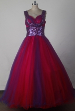 Fashionable Ball Gown Straps Floor-length Red Quinceanera Dress X0426015